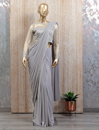 Designer powder blue ready to wear saree with readymade blouse