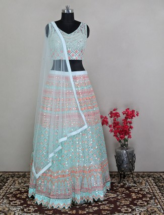 Designer powder blue wedding wear lehenga choli