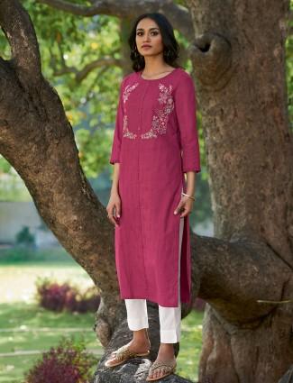 Designer purple printed cotton casual wear kurti