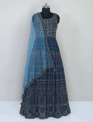 Designer rama blue net gown
