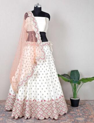 Designer raw silk unstitched white wedding lehenga choli