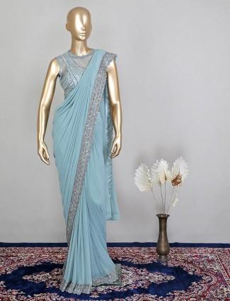 Designer ready to wear raw silk saree in aqua