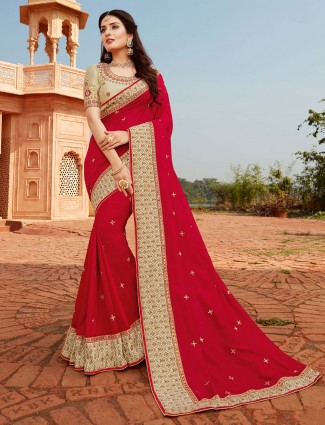 Designer red saree for festive functions in silk