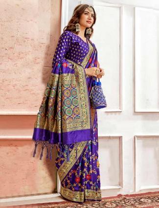 Designer royal blue embroidery saree in banarasi silk
