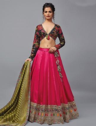 Designer satin silk wedding wear lehenga choli in magenta