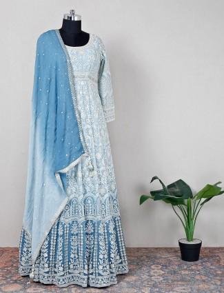 Designer sky blue hue anarkali suit for women