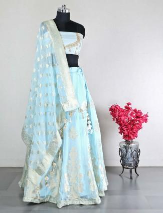 Designer sky blue raw silk unstitched wedding wear lehenga choli