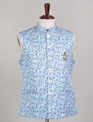 Designer sky blue silk waistcoat for mens