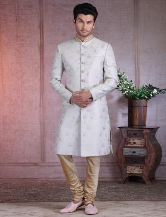 Designer terry rayon grey wedding sherwani
