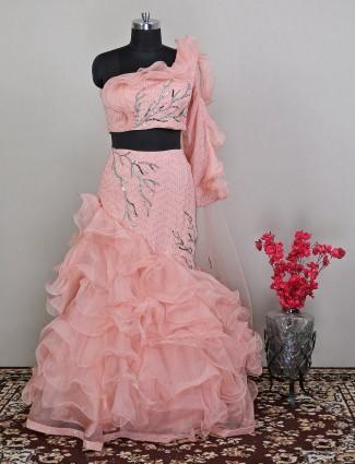 Designer wedding sessions lehenga in peach hue