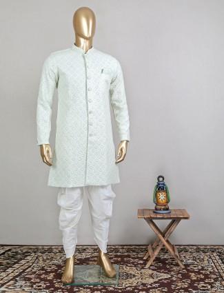 Designer wedding wear pista green indo fusion sherwani