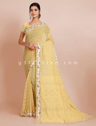 Designer wedding wear yellow saree with readymade blouse