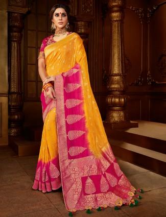 Designer Yellow and magenta dola silk saree for wedding ceremony