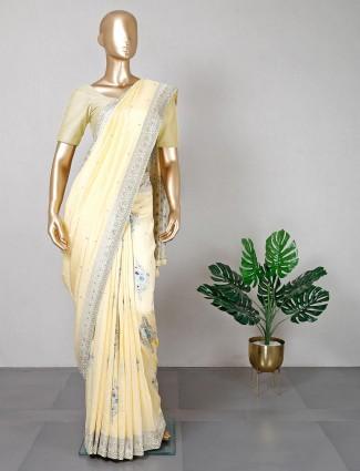 Designer yellow cotton silk for women