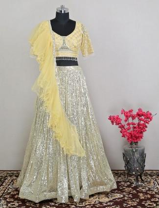 Designer yellow designer wedding wear lehenga choli in net
