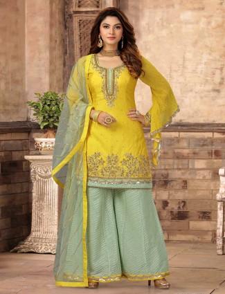 Designer yellow palazzo suit in cotton silk