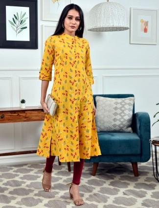 Designer yellow printed cotton casual wear kurti