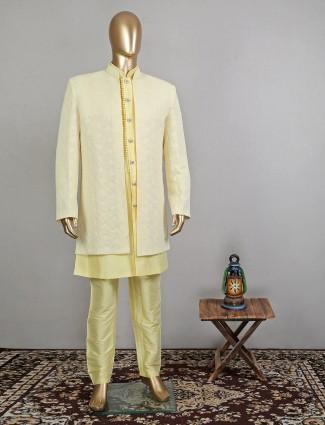 Designer yellow wedding wear indowestern sherwani for mens