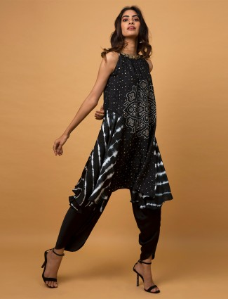 Dhoti style black silk wedding wear salwar suit