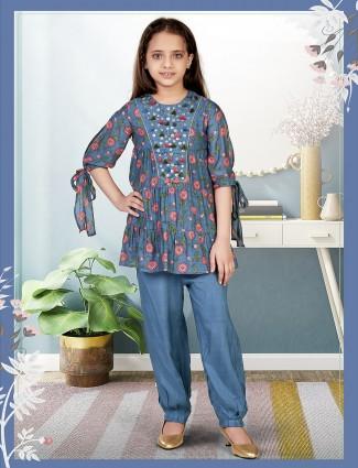 Dhoti style blue tint cotton suit