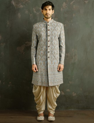 Dhoti style indowestern suit for mens in grey tint