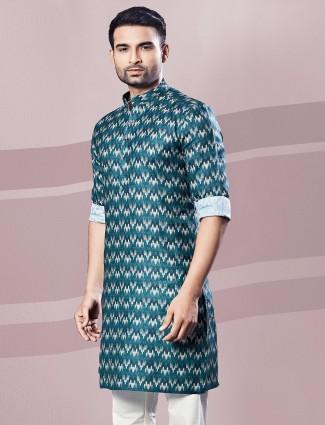 Digital printed green mens kurta in cotton