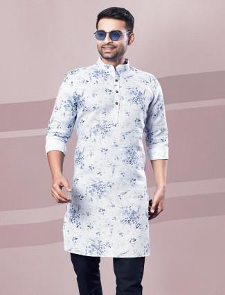 Digital printed white cotton kurta