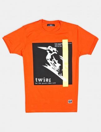 Disorder orange printed cotton casual t-shirt