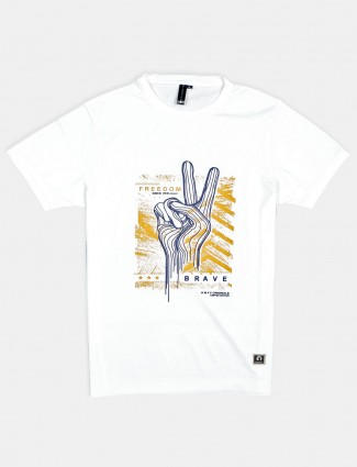 Disorder printed white cotton t-shirt