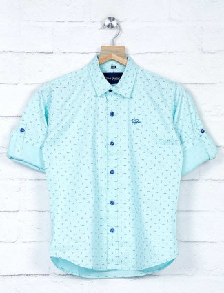 DNJS aqua printed full sleeves shirt