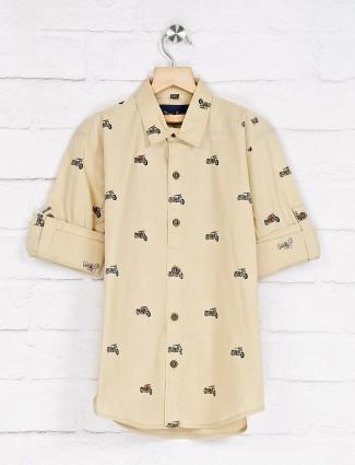 DNJS beige cotton printed shirt
