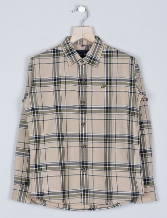 DNJS fawn shade chex style shirt in cotton for boys