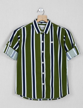 DNJS green stripe casual shirt