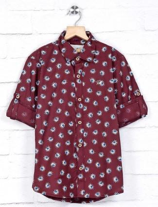 DNJS maroon printed cotton shirt