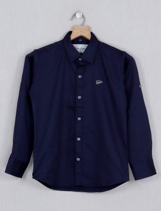 DNJS navy solid cotton shirt