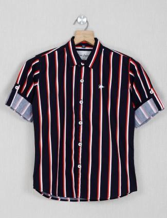 DNJS navy stripe full sleeves shirt