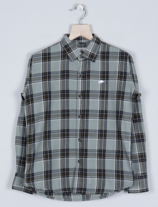 DNJS olive chex shirt in cotton for boys