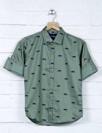 DNJS olive slim fit printed shirt