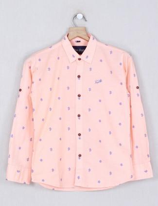 DNJS peach printed slim fit shirt in cotton