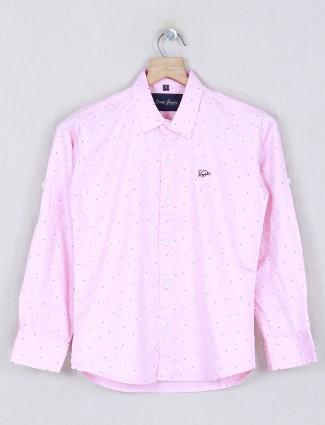 DNJS pink printed cotton fabric boys shirt