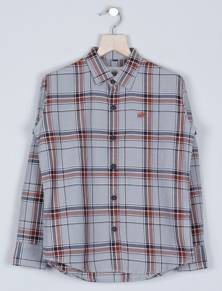 DNJS presented grey chex style cotton shirt for boys