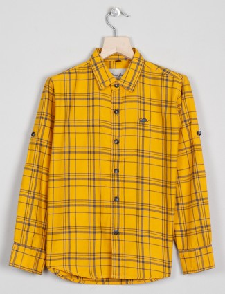 DNJS presented yellow tint cotton casual shirt for boys