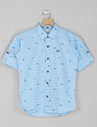 DNJS printed sky blue casual cotton shirt