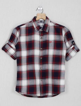 DNJS red cotton checks boys shirt