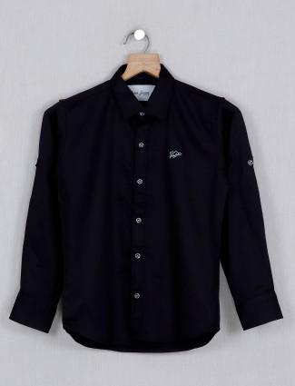 DNJS solid black casual wear shirt