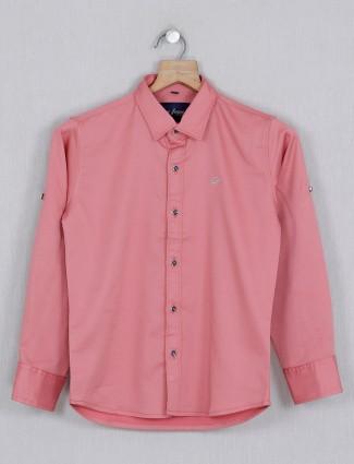 DNJS solid pink stripe full sleeves shirt