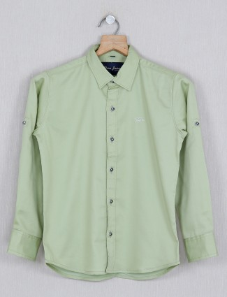 DNJS solid pista green casual shirt
