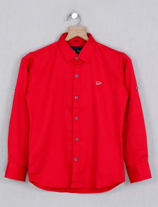 DNJS solid red casual wear shirt