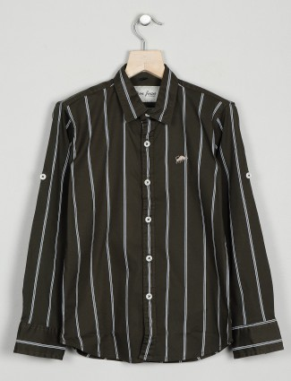 DNJS striped style olive green shirt in cotton
