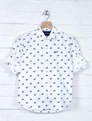 DNJS white printed slim collar shirt